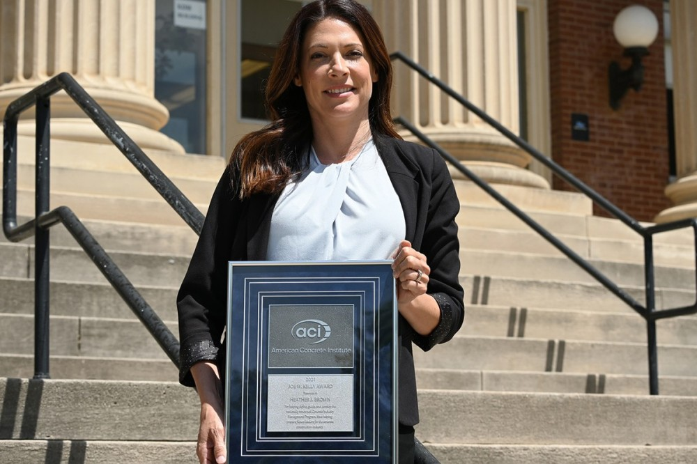 MTSU School of Concrete and Construction Management professor Heather Brown holds the American Concrete Institute's 2021 Joe W. Kelly Award