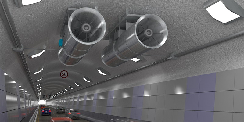 Woods Air Movement fans in a tunnel