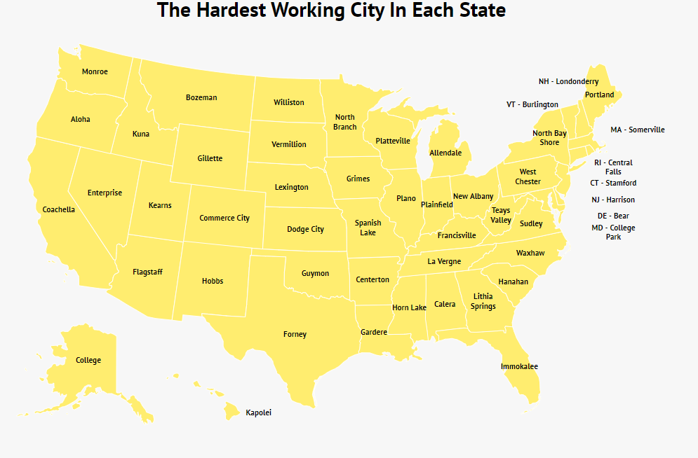 THE HARDEST WORKING CITY IN EACH STATE FOR 2020