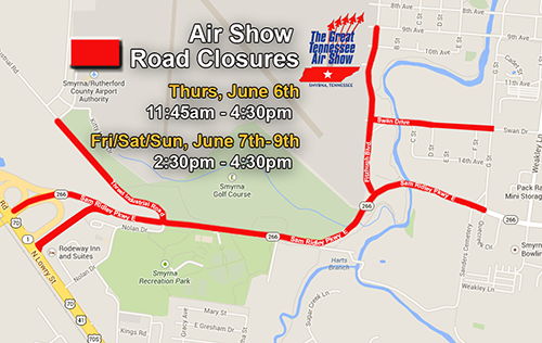Great Tennessee Airshow road closures