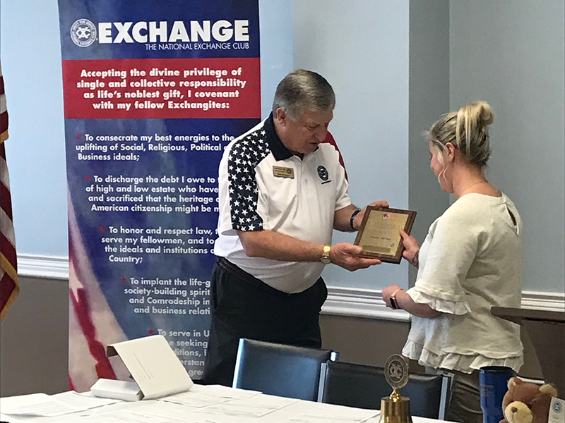 """Exchange Club of Murfreesboro presents Sydney Eisenhour-McNinch of Adient - Murfreesboro a """"Proudly We Hail"""" Plaque on July 14, 2021"""