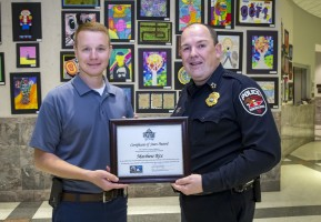Murfreesboro Police Officer Matthew Rice and Chief Mike Bowen