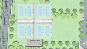 This architectural drawing of new on-campus tennis facility