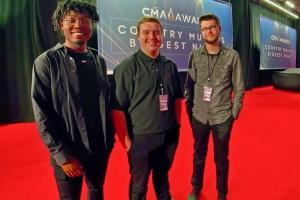 MTSU Media Arts students on the red carpet at 53rd CMA Awards