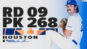Middle Tennessee right-hander Aaron Brown was selected by the Houston Astros with the 268th pick in the ninth round of the Major League Baseball's First Year Player draft.