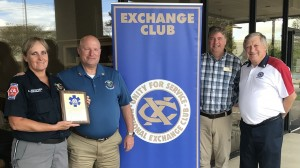"""Paramedic Alice Swinford accepts The Exchange Club of Murfreesboro """"EMS of the Year Award"""""""