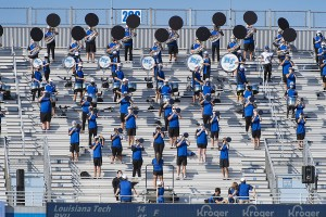 A socially distant MTSU Band of Blue