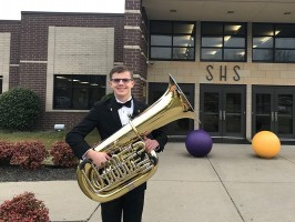 Isaac Dortch with his tuba