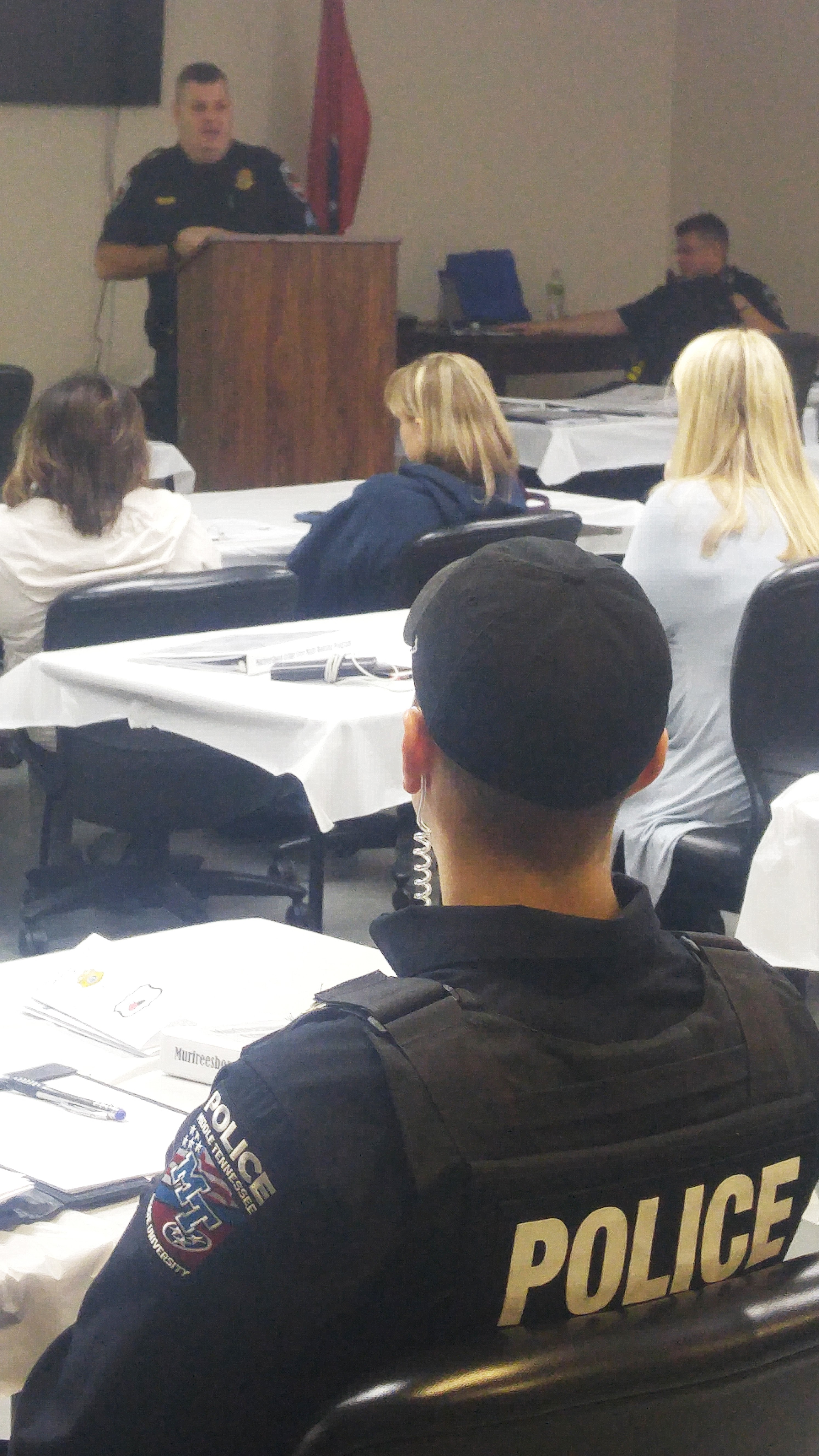MPD Sgt. Harry Haigh addresses rental property community managers, Feb. 16, 2018.